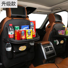 PU Leather Car Seat Organizer , Car Seat Pocket Organizer With Folding Dining Table